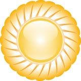 Желтое лоснистое сияющее солнце изолированное на белой предпосылке иллюстрация вектора