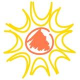 Желтое солнце изолированное на белизне, значке вектора Стоковое Фото