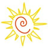 Желтое солнце изолированное на белизне, значке вектора Стоковое Изображение