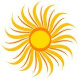 Желтое солнце изолированное на белизне, значке вектора Стоковые Фотографии RF