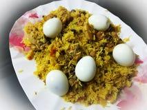 Желтое яйцо Biryani стоковое фото rf