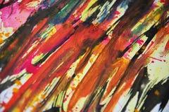 Желтой розовой черной оранжевой цвета запачканные синью, контрасты, предпосылка waxy краски творческая стоковые изображения