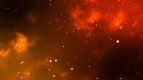 Желтые, белые плавая частицы мерцающие на пламенистой предпосылке Самая лучшая заставка uhd 4k сток-видео