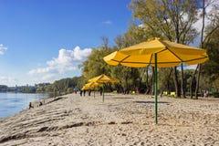 Желтые зонтики на пляже Стоковое фото RF