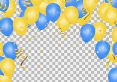 Желтые и голубые воздушные шары на просвечивающем поле могут быть используемым fo иллюстрация вектора
