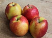 Желтые и красные свежие голландские яблоки джаза на деревянной предпосылке стоковые фото