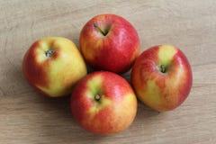 Желтые и красные свежие голландские яблоки джаза на деревянной предпосылке стоковое изображение rf