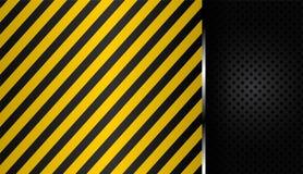 Желтые и черные нашивки на черном пефорированном металле предпосылки Стоковые Фото
