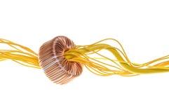 Желтые кабельная линия связи и катушка Стоковое Фото