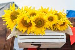 Желтые красивые солнцецветы в деревянной коробке стоковая фотография