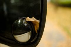Желтые полученные лист вяза вставили в зеркале заднего вида припаркованного автомобиля Стоковое Изображение