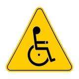 Желтые предупредительные знаки треугольника с с ограниченными возможностями символом кресло-коляскы, на белой предпосылке, vector Стоковое Изображение