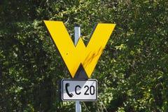 Желтые пункты железной дороги знака Стоковые Фото