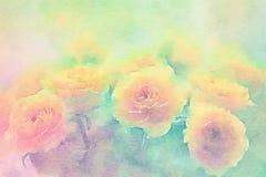 Желтые розы на зеленой предпосылке Stylization акварели бесплатная иллюстрация