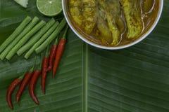 Желтые рыбы луциана карри с стержнями лотоса, южной тайской пряной едой и свежим овощем в белом блюде на банане листают/селективн Стоковая Фотография RF