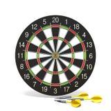 Желтые стрелки дротика перед dartboard 3D Стоковая Фотография RF