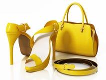 Желтые сумка, ботинки и пояс изолированная на белой предпосылке иллюстрация 3d Стоковое Изображение RF