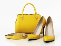 Желтые сумка, ботинки и пояс изолированная на белой предпосылке иллюстрация 3d Стоковое фото RF