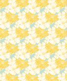 Желтые тропический цветочный узор, безшовный для тканей и обоев иллюстрация штока