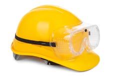Желтые трудный шлем и изумлённые взгляды Стоковые Фото
