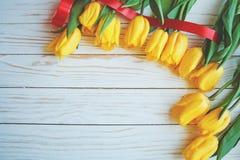 Желтые тюльпаны при зеленые листья и красная лента кладя в абстрактный состав на белую деревянную предпосылку стоковая фотография
