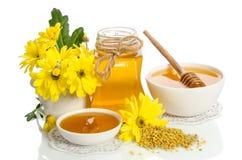 Желтые цветки и продукты мед пчелы, цветень Стоковая Фотография