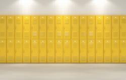 Желтые шкафчики школы иллюстрация штока