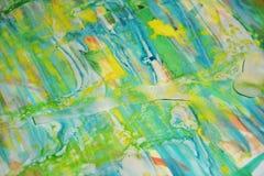 Желтые waxy пятна голубые, зеленый, пятна watercor желтого цвета пастельные, творческий дизайн Стоковая Фотография RF