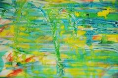 Желтые waxy пятна и красное голубое, зеленый, пятна watercor желтого цвета пастельные, творческий дизайн Стоковые Изображения RF
