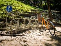 Желтый велосипед припарковал на автостоянке велосипеда в парке Сторона знак автостоянки велосипеда Золотой свет на поле Энергия Стоковое фото RF