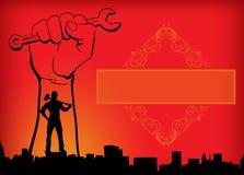 Желтый Дня труда праздника Первого Мая дня работников мира красный и оранжевый человек предпосылки с рукой молотка со знаменем га стоковые фото