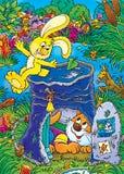 Желтый зайчик и бездомный котенок Стоковые Изображения RF