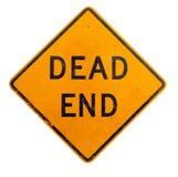 Желтый знак мертвого конца на белой предпосылке Стоковое Изображение RF