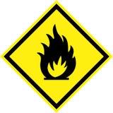 Желтый знак опасности с огнем иллюстрация вектора
