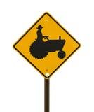 Желтый знак трактора фермы Стоковые Фото