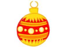 Желтый и глубоко - красный шарик рождества стоковая фотография rf