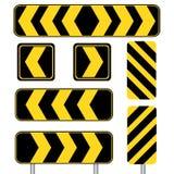 Желтый острый знак транспорта кривой установил в белую предпосылку Стоковые Изображения RF