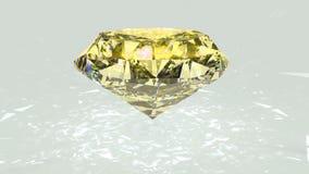 Желтый отснятый видеоматериал рассеивания диаманта Вращение причудливого диаманта цвета оживленное сток-видео