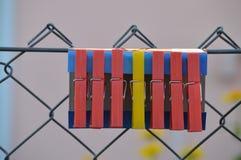 ЖЕЛТЫЙ ПЛАСТИЧНЫЙ КОЛЫШЕК ПРОСЛОЕННЫЙ МЕЖДУ КРАСНЫМ ЦВЕТОМ ОДНИ Стоковое Изображение RF