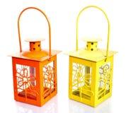 Желтый & померанцовый фонарик Стоковое Фото