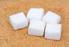 Желтый сахарный песок с кубами белого сахара Стоковое Фото