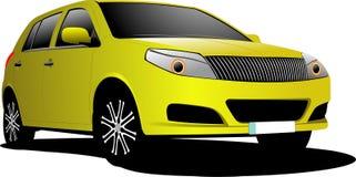 Желтый седан автомобиля на дороге иллюстрация штока
