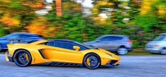 Желтый супер автомобиль Стоковые Фото