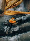 Желтый цветок в руке скульптуры Ayutthaya Будды grunge Ruined r стоковые фото