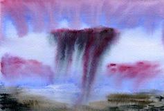 желтый цвет акварели стародедовской предпосылки темный бумажный Высокое облачное небо над полем Стоковая Фотография