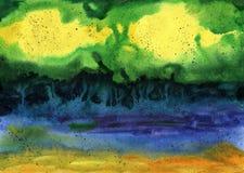 желтый цвет акварели стародедовской предпосылки темный бумажный Деревья фантазии озером Стоковое фото RF