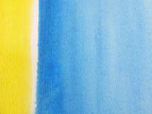 желтый цвет акварели 3 предпосылок голубой стоковое изображение
