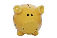 желтый цвет банка piggy Стоковые Изображения
