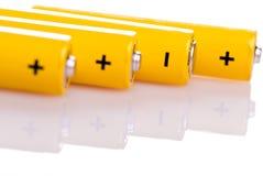 желтый цвет батарей 4 лежа Стоковая Фотография