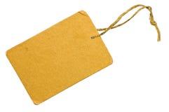 желтый цвет бирки сбывания ярлыка картона изолированный крупным планом Стоковые Фото